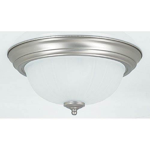 Sunset Lighting Two-Light Satin Nickel Flush Mount with Frosted Melon Glass