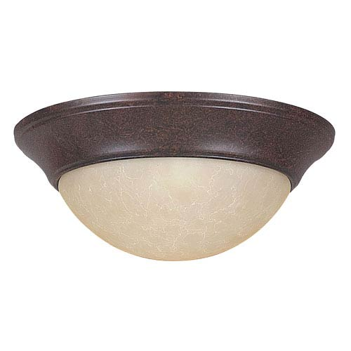 Sunset Lighting Twist-On Flush Mounts 12-Inch Two-Light Rubbed Bronze Flush Mount with Twist-On Tea Stained Glass