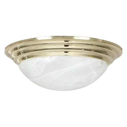 Sunset Lighting Twist-On Flush Mounts Two-Light Polished Brass Flush Mount with Twist-On Faux Alabaster Glass