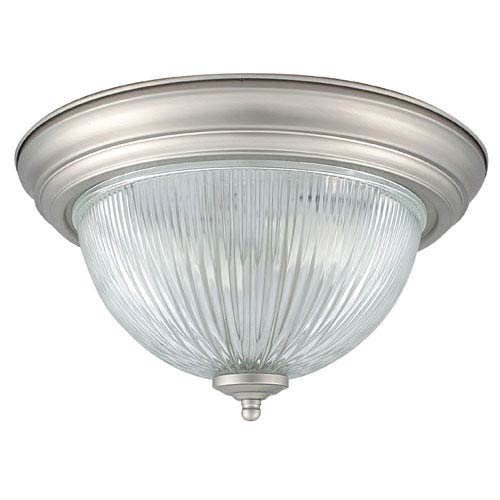 Two-Light Satin Nickel Flush Mount with Clear Prismatic Glass