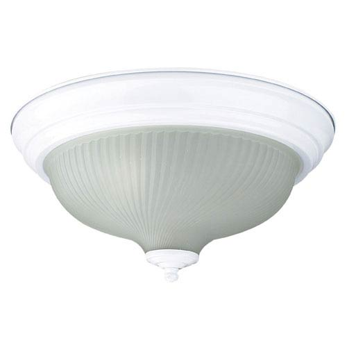 Sunset Lighting Two-Light White Flush Mount with Frosted Prismatic Glass