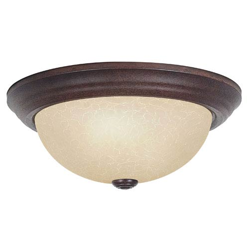 Sunset Lighting Three-Light Rubbed Bronze Flush Mount with Tea Stained Glass