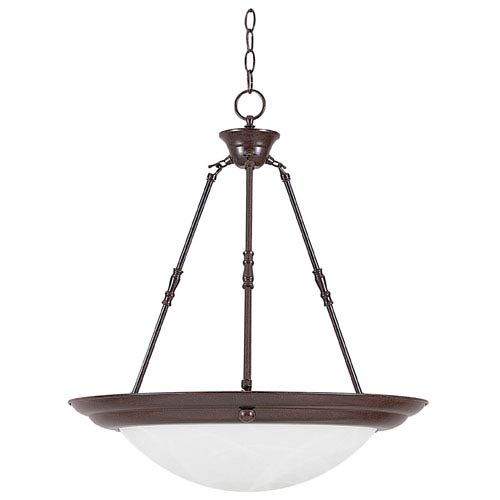 20-Inch Three-Light Rubbed Bronze Bowl Pendant with Faux Alabaster Glass