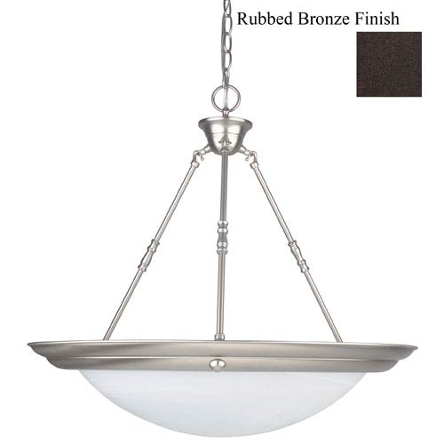 24-Inch Three-Light Rubbed Bronze Bowl Pendant with Faux Alabaster Glass