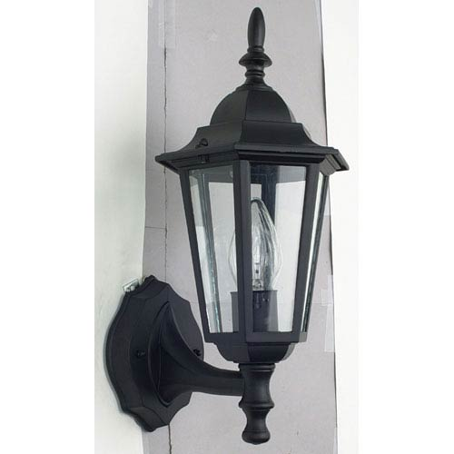 Sunset Lighting One-Light Black Outdoor Wall Lantern with Clear Beveled Glass