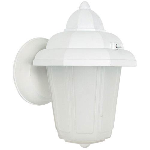 One-Light White Outdoor Wall Lantern with Frosted Glass