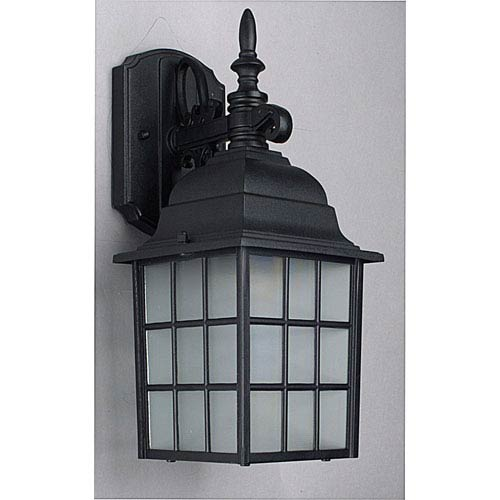 Sunset Lighting One-Light Black Outdoor Wall Lantern with Textured Frosted Glass