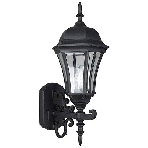 One Light Black Cast Aluminum Outdoor Wall Lantern With Clear Beveled Gl
