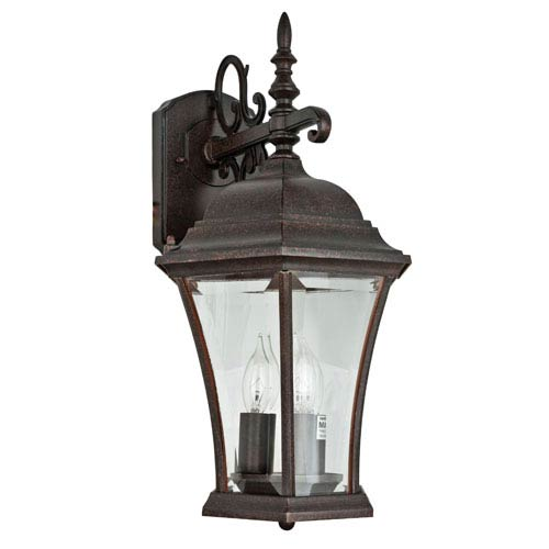 Sunset Lighting Three-Light Rubbed Bronze Outdoor Wall Lantern with Clear Beveled Glass