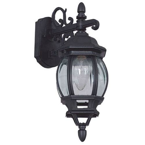 Sunset Lighting One-Light Rounded Black Outdoor Wall Lantern with Clear Beveled Glass