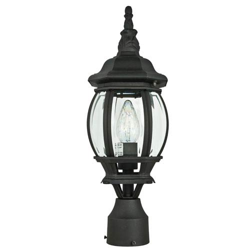 Sunset Lighting One-Light Rounded Black Outdoor Post Lantern with Clear Beveled Glass