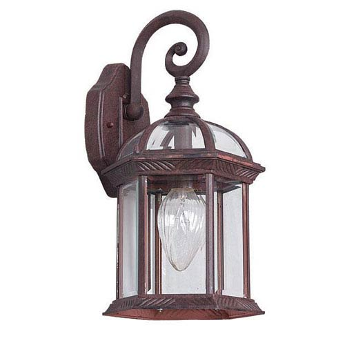 One-Light Rubbed Bronze Cast Aluminum Outdoor Wall Lantern with Clear Beveled Glass and Texture Detail