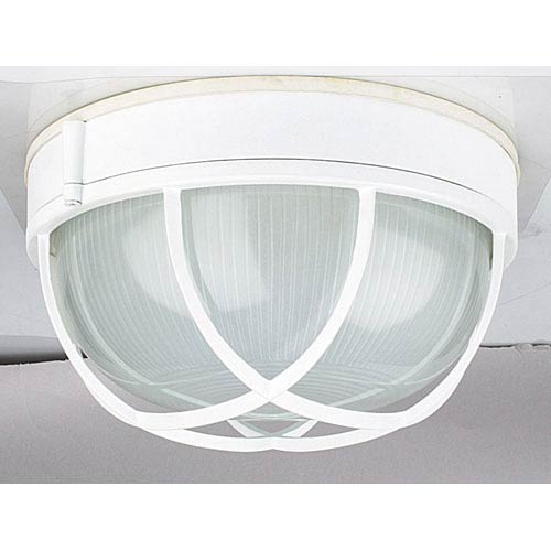 One-Light White Outdoor Bulkhead Flush Mount with Frosted Prismatic Glass