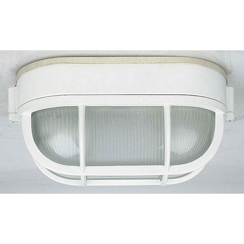 Sunset Lighting One-Light White Outdoor Oval Bulkhead Flush Mount with Frosted Prismatic Glass
