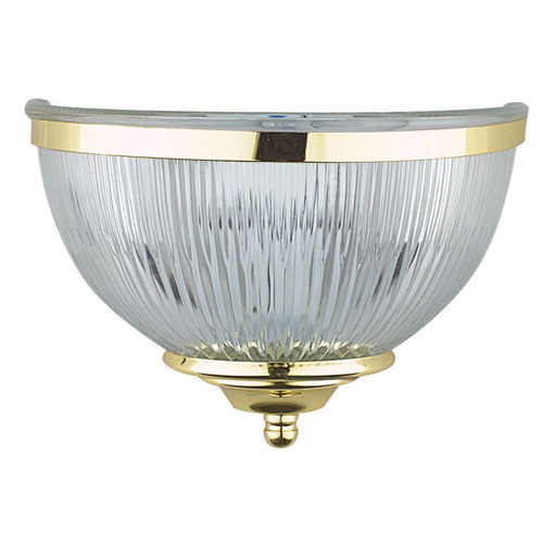 Sunset Lighting One-Light Polished Brass Wall Sconce with Clear Prismatic Glass