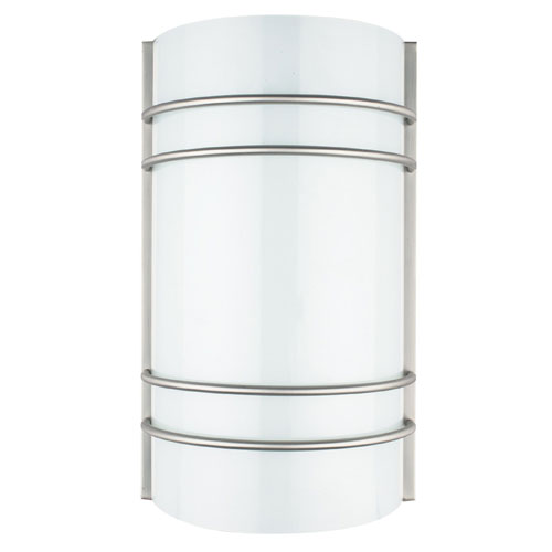 Sunset Lighting Energy Star Fluorescent One-Light Bright Satin Nickel Wall Sconce with Opal Round Glass