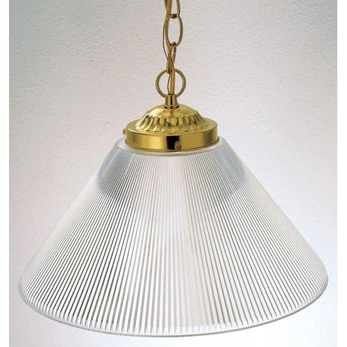One-Light Polished Brass Pendant with Clear Prismatic Acrylic
