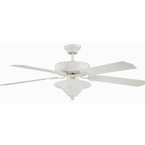 Heritage Square Bowl White 52-Inch Lighted Ceiling Fan