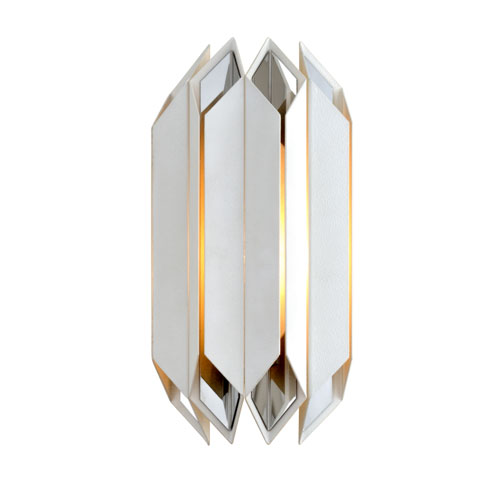 Corbett Haiku White with Polished Stainless Accents One-Light Wall Sconce