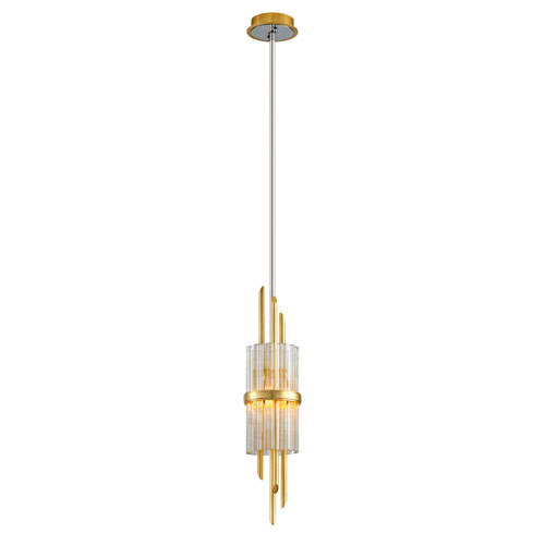 Symphony Gold Leaf with Polished Stainless Accents One-Light Mini-Pendant