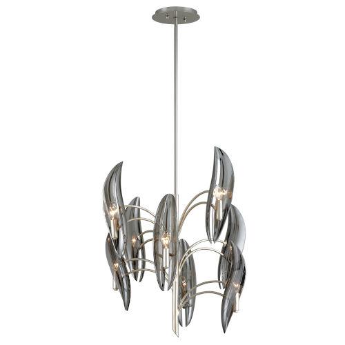 Sofia Grey Eight-Light Chandelier With Glass Shade