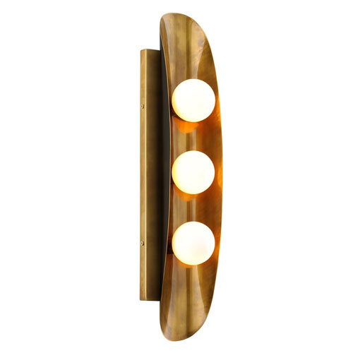Hopper Vintage Brass Three-Light ADA Wall Sconce