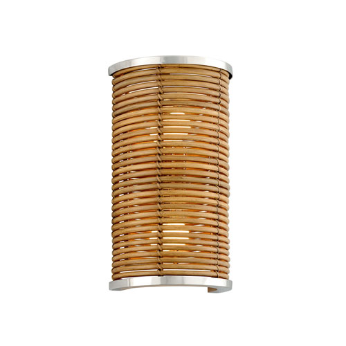 Carayes Natural Rattan and Stainless Steel Two-Light Wall Sconce