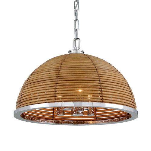Carayes Natural Rattan and Stainless Steel Three-Light Chandelier
