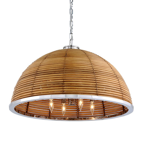 Carayes Natural Rattan and Stainless Steel Eight-Light Chandelier