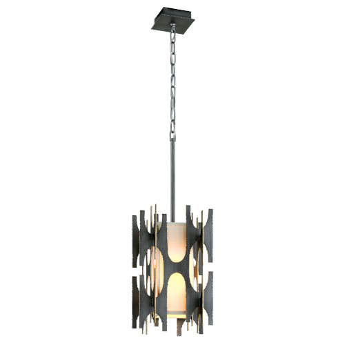 Black Gold One-Light Pendant With off-White Linen Shade
