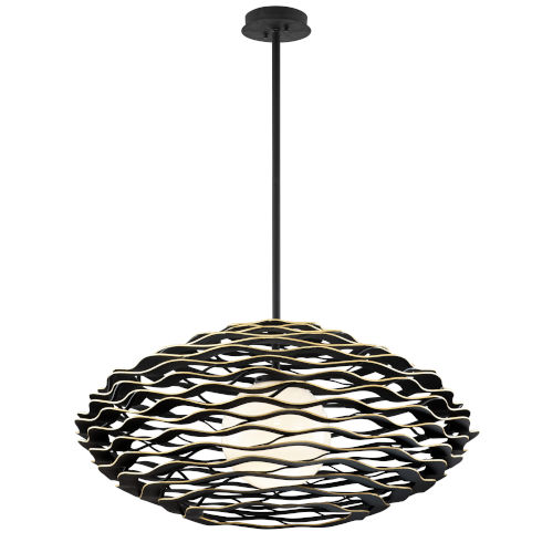 Luma Black Gold One-Light Pendant With Glass Shade