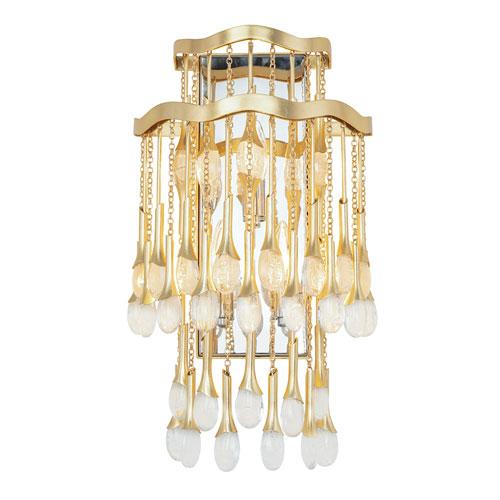 Kiara Gold Leaf Three-Light Wall Sconce