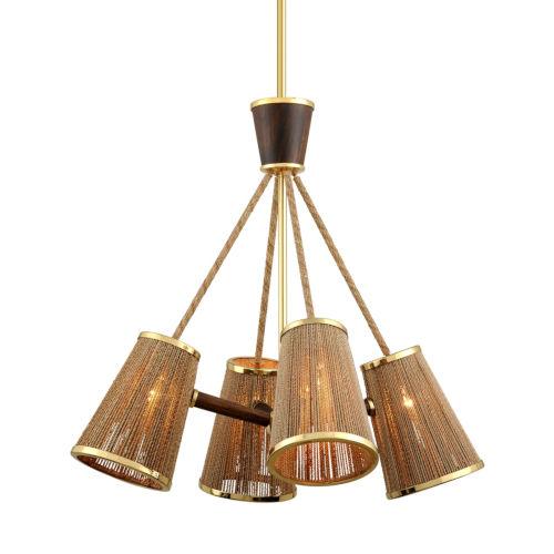 Rhodos Polished Brass 31-Inch Four-Light Chandelier