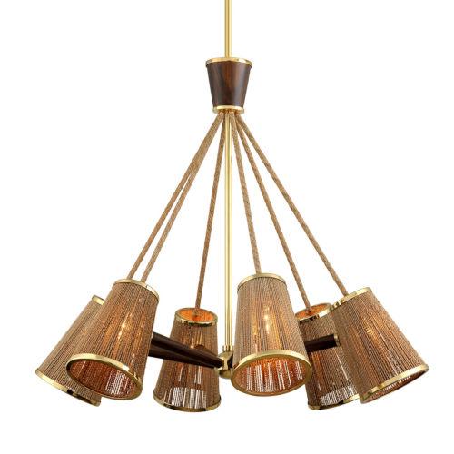 Rhodos Polished Brass 40-Inch Six-Light Chandelier