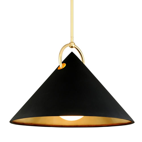Charm Black And Gold Leaf One-Light Pendant