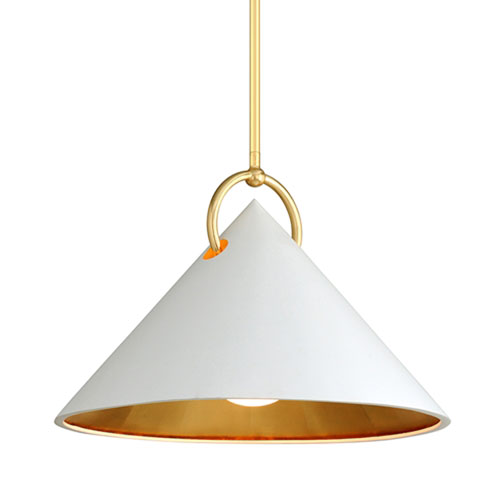 Charm White And Gold Leaf One-Light Pendant