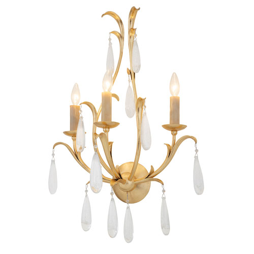 Prosecco Gold Leaf Three-Light Wall Sconce