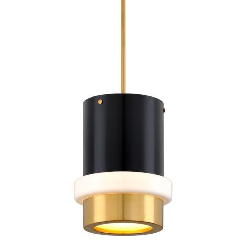 Beckenham Vintage Polished Brass and Black One-Light Pendant