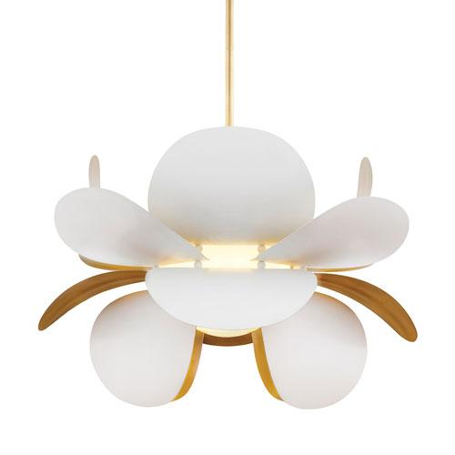Ginger Gold Leaf and White One-Light Pendant