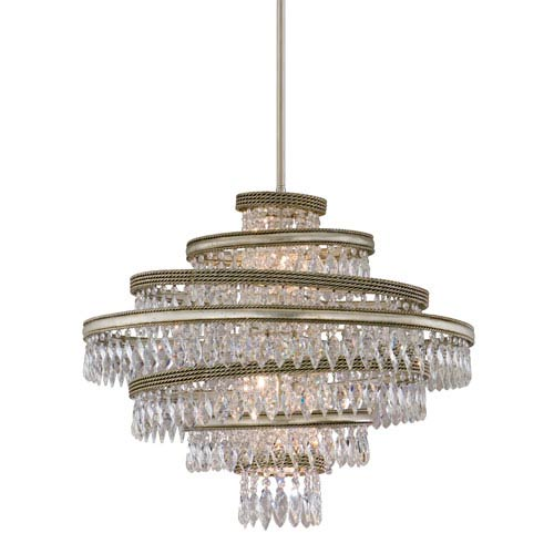 Corbett Diva Silver Leaf with Gold Five-Light 24-Inch Pendant