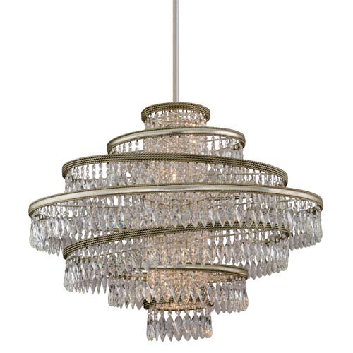 Corbett Diva Silver Leaf with Gold Five-Light 30-Inch Pendant