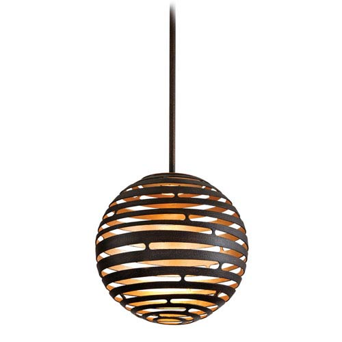 Corbett Tango Textured Bronze Small One-Light LED Pendant