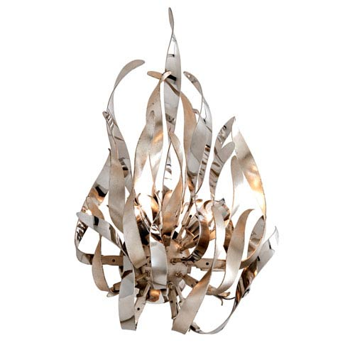 Graffiti Silver Leaf and Polished Stainless Two-Light Wall Sconce