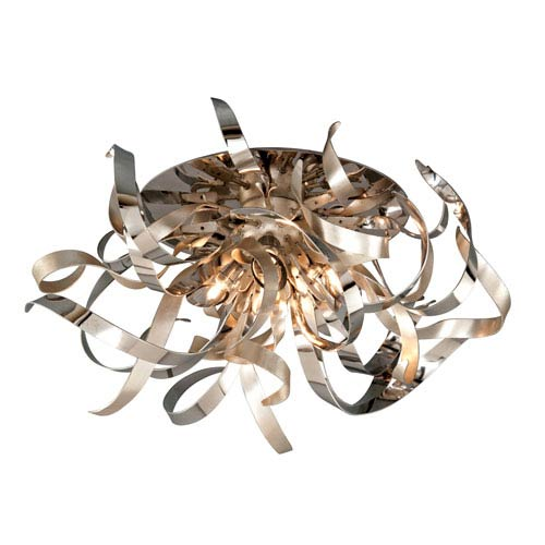 Graffiti Silver Leaf and Polished Stainless Four-Light Semi-Flush