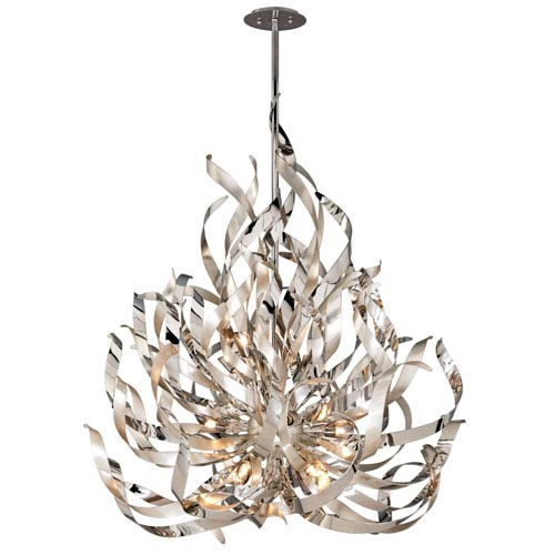 Graffiti Silver Leaf and Polished Stainless 12-Light Pendant