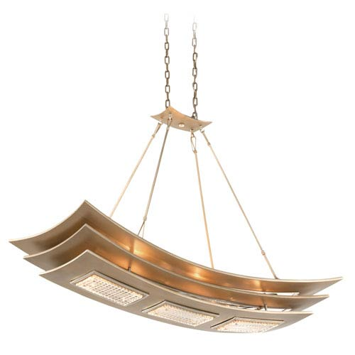 Corbett Muse Tranquility Silver Leaf with Polished Stainless Accents Six-Light Island Pendant