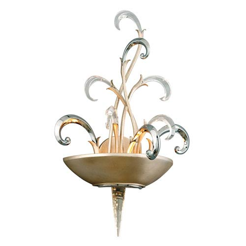 Crescendo Tranquility Silver Leaf Two-Light Wall Sconce