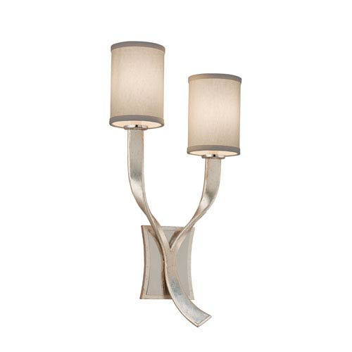 Corbett Roxy Modern Silver Leaf with Polished Stainless Accents Right Two-Light Wall Sconce