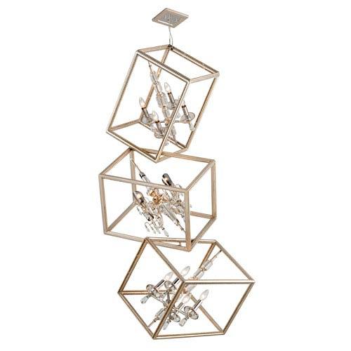Corbett Houdini Silver Leaf With Gold 12-Light Triple Pendant