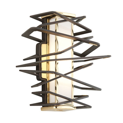 Tantrum Bronze with Polished Brass Eight-Light LED Wall Sconce